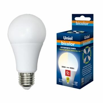 Лампа Светодиодная с выбором цветовой температуры Е27 9W Bicolor Uniel