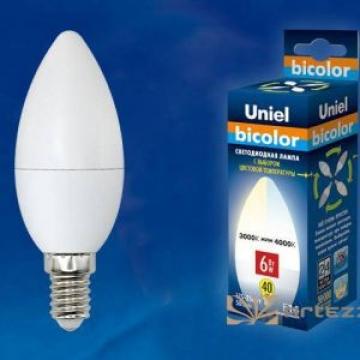 Светодиодная Лампа с выбором цветовой температуры Uniel bicolor 6W E14