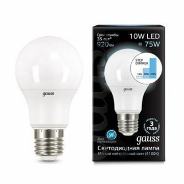 Led energy saving lamp Gauss 10W E27 (STEP Dimer)
