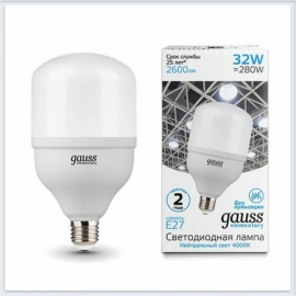 Лампа мощная светодиодная Gauss elementary 32W T100 E27/E40